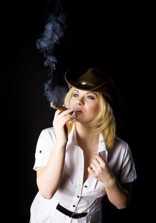 Free CowGirl Smoke Royalty Free Stock Image - 15200826
