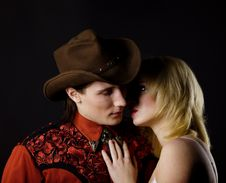 Free Cowboy And Blond Girl Royalty Free Stock Photo - 15200835