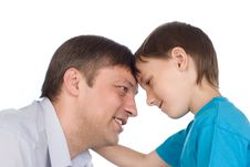 Free Father And Son On A White Royalty Free Stock Photography - 15200837