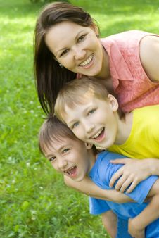 Happy Woman Woman  With  Sons Stock Images