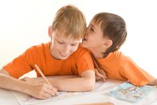 Free Two Brothers Paint Royalty Free Stock Photography - 15201467