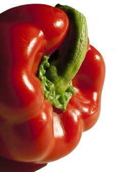 Red Bell Pepper Closeup From The Side Stock Images