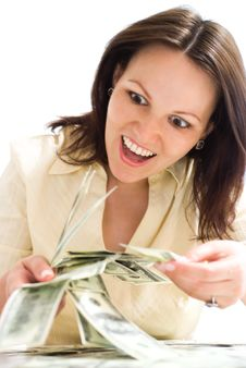 Free Young Woman With The Money Royalty Free Stock Photos - 15201668