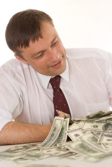 Young Man Holding Money Stock Photos