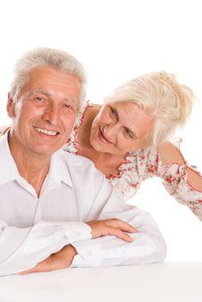 Free Elderly Couple  On A White Royalty Free Stock Photo - 15203105