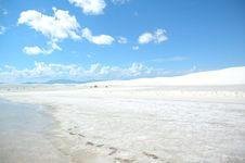 White Sands - Lake And Footprints Stock Photos
