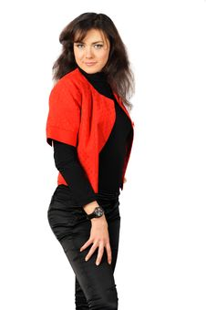 Free Beautiful Smiling Young Girl In Red-black Clothes Stock Image - 15204461