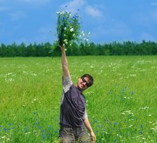 Free Young Adult Man With Bouquet Of Wildflowers Stock Photography - 15204522