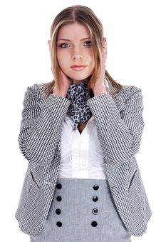 Free Young Business Women Closing Her Ears Stock Photography - 15204882