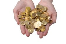 Free Gold Coins On Palms. Isolation On The White Stock Photography - 15205332