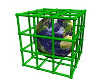 Earth In Green Cage Stock Image