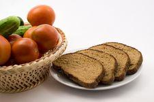 Free Tomatoes, Cucumber And Bread Stock Image - 15207181