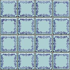 Free Blue Tiles Texture With Geometric Decoration Stock Photography - 15207382
