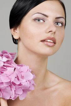 Free Beautiful Woman With Flower Royalty Free Stock Image - 15207656