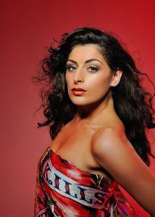 Beautiful Fashion Woman With Bright Make-up Royalty Free Stock Photo