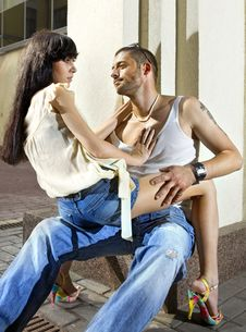 Free Couple On The Street At Summer Stock Photos - 15209773