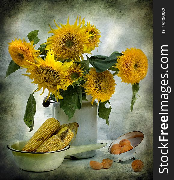 Still Life With Sunflowers And Corn