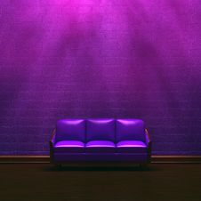 Free Alone Purple Couch In Purple Minimalist Interior Royalty Free Stock Image - 15210516