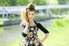 Free Teenager Girl Model Presenting Clothes In The Park Royalty Free Stock Image - 15210876