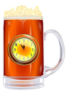 Beer Mug With Clock Royalty Free Stock Photo