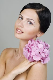 Free Beautiful Woman With Flower Stock Photography - 15211062