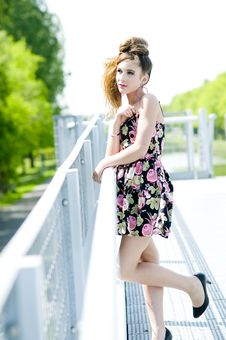 Free Teenager Girl Model Presenting Clothes In The Park Royalty Free Stock Photography - 15211307