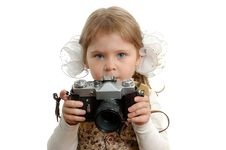 Free Little Girl With The Photo Camera Stock Image - 15212041