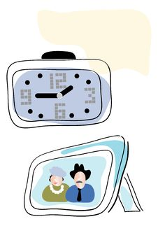 Old-fashion Clock And Family Image. Royalty Free Stock Images