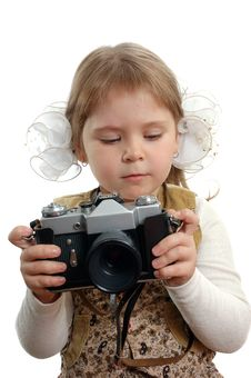 Free Little Girl With The Photo Camera Royalty Free Stock Photography - 15212057
