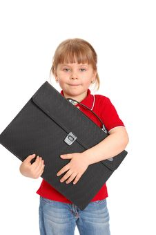 Little Girl With A Case On White Royalty Free Stock Photo