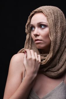 Free Beautiful Woman With  Safari Skarf On Head Stock Photography - 15212812