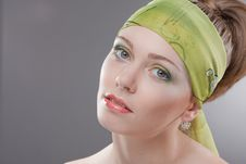 Free Young Woman In Colored Scarf On Head Royalty Free Stock Photo - 15212875