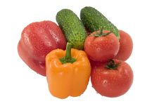Free Group Of Vegetables On A White Background Royalty Free Stock Photo - 15215065