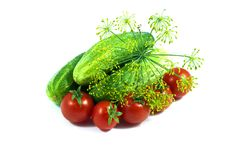 Free Tomatoes Cucumbers And Dil Closeup Stock Images - 15215324