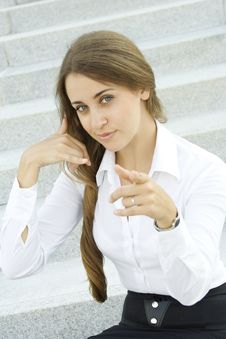 Free Businesswoman Gesturing Call Me Royalty Free Stock Photo - 15215355