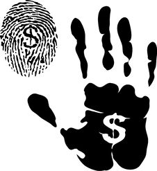 Free Handprint And Fingerprint With Dollar Signs Stock Photo - 15216140