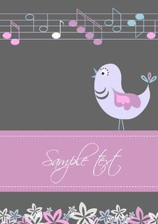 Card Template With Bird And Tunes Design Royalty Free Stock Photos