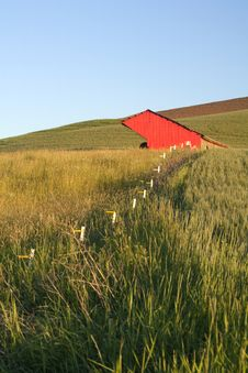 Free Fence Leads To A Red Barn. Stock Photos - 15217693