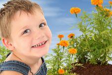 Boy In Garden Royalty Free Stock Image