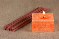 Free A Bundle Of Incense Sticks And A Candle Stock Photography - 15218652