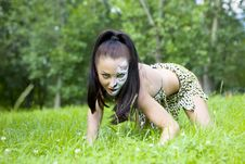 Free Woman With Face Art On Grass Stock Images - 15220764