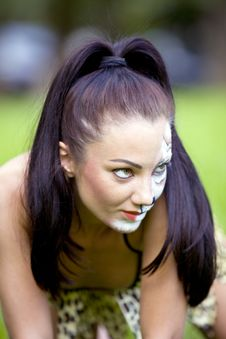 Free Woman With Face Art On Grass Royalty Free Stock Image - 15220766