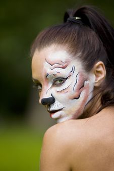 Free Young Woman With Tigress Face Art Royalty Free Stock Photos - 15220768