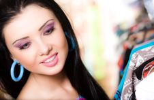 Free Girl With Smile Is Shopping Stock Photo - 15221190