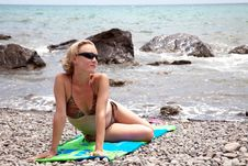 Free Woman Relaxing On Beach Stock Photo - 15221820