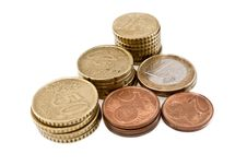 Free Pyramidal Stacks Of Euros And Cents Stock Images - 15222314