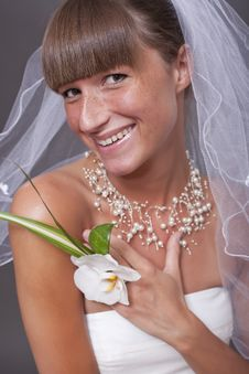 Laughing Bride With Flower