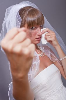 Frustrated Bride Showing Her Fist Stock Photos