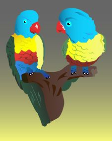 Free Two Parrots Royalty Free Stock Images - 15224999