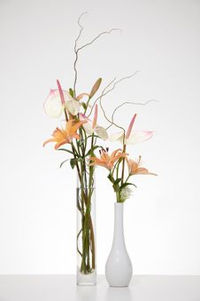 Arrangement Of Anthurium And Stargazer Lilies Stock Photos